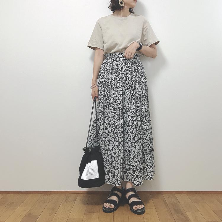 花 スカート ユニクロ 柄 ユニクロのドット柄サーキュラースカートが可愛い!脱マンネリ感でぽっちゃりコーデ。