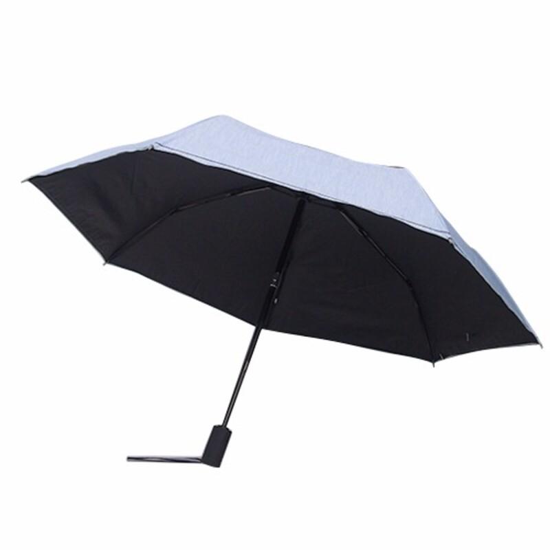 ポリエステル混シャンブレー木手元コンパクト日傘 (378291)