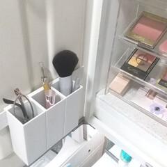 エクセル スキニーリッチシャドウ SR03 ロイヤルブラウン | excel(その他アイシャドウ)を使ったクチコミ「洗面台のコスメ収納のフォト。 無印良品の…」(1枚目)