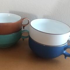 白山陶器 S型スープボール(450ml)&スープスプーン ブルーマット | 白山陶器(スプーン)を使ったクチコミ「お気に入りの白山陶器のスープマグ。 デザ…」(1枚目)