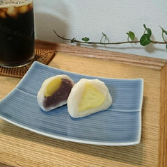 パイナップル/大福/和菓子/フォロー大歓迎/至福のひととき/おやつタイム/... 今日のおやつは和菓子にしました😊 左は栗…(1枚目)