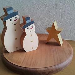 スノーマン/クリスマス/クリスマスツリー/雑貨/インテリア 去年購入した木のクリスマスオブジェ✨ 優…(2枚目)