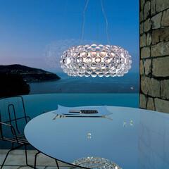 照明/フォスカリーニ/ペンダントライト/カボシェ 特徴的なアクリルビーズはガラスの透明感を…