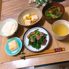 定食スタイル/高野豆腐/レバニラ/おうちごはん 亜鉛不足なので、レバニラと高野豆腐の定食…