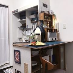 お気に入り空間/狭くても諦めない/賃貸/簡単DIY/ワンルーム/テーブル代わり/... キッチンカウンターはこんな感じ♪