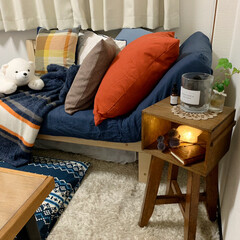 照明/ニット/ひとり暮らし/狭い部屋/賃貸/DIY/... ニトリのカバー類で秋冬インテリアに♪ 居…
