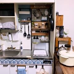 ブログやってます/狭いけど楽しく/ワンルーム/賃貸/ミニキッチン/爽やかインテリア/... キッチンをブルータイル柄に変更! 春らし…
