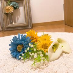 カインズ/造花/夏インテリア/爽やか/額縁/玄関インテリア/... 玄関のお花を夏っぽく変更しましょ♪