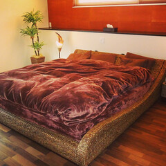 高品質 ウォーターヒヤシンスベッド PERFORMAX正規品 ウォーターヒヤシンス ベッド キング アジアン リゾート ホテル アジアン家具 HBD-08(ベッドフレーム)を使ったクチコミ「毎日リゾートホテルのようなベッドルームで…」(1枚目)