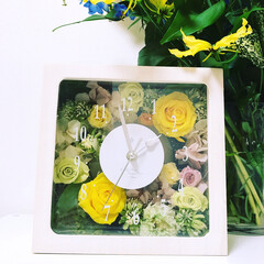 手作り時計/ブリザードフラワー/時計 お友達が作ってくれた ブリザードフラワー…