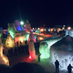 北海道/冬/おでかけ/旅行/風景 北海道支笏湖の氷濤(ひょうとう)まつりの…