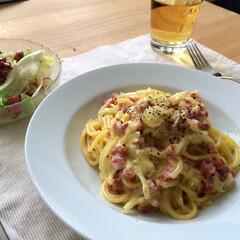 Spagehtti Carbonara/Mittagessen/ランチ/カルボナーラ 【スパゲティカルボナーラ】  料理にはま…