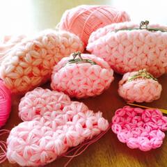 crochet/ピンク/リフ編み/編み物/フォロー大歓迎/雑貨/... リフ編みたくさん。ジャスミンステッチとい…