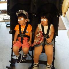 寝顔/ベビーカー/おでかけ/双子 同じ顔してるくせに足の太さは倍。   先…