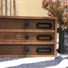 diy girl/小引出し/kumiさん/セリア kumiさんのアイデアのセリアの木箱で作…