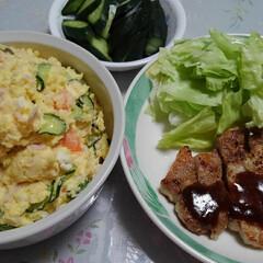 「今日の我が家の朝ご飯🍚🍴  #トンテキ …」(1枚目)