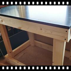 作業効率アップ/机/作業部屋/収納/DIY/テーブルDIY 作業台をDIY   前から何かつくる時に…