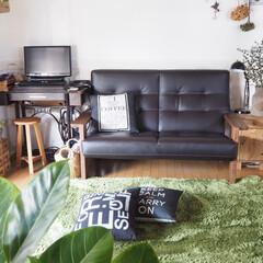 築40年/元和室/腰壁DIY/アンティークミシン/カリモクのソファ 築40年のおうち。和室をリビングに夫婦2…