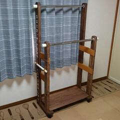 ハンガーラック/男前/DIY/収納 2段のハンガーラック作りました(⌒_⌒)…