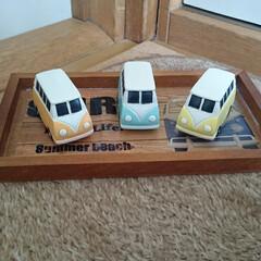 ミニカー/バス/レトロ セリアさんで見つけた木製トレイとあの会社…