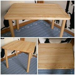DIY/テーブル/ワックス/簡単 パイン集成材 450×600と35mm丸…
