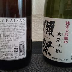 正月/日本酒/あけおめ/おうち/年末年始 お正月のお酒は、獺祭と八海山のどちらも原…(3枚目)