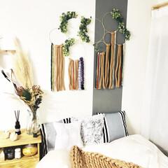クリスマス/フェイクユーカリ/毛糸/ロープ/チャンキーニット ヤーン/ドリームキャッチャー  リング/... リングのタペストリーは枕元に飾ってます。…