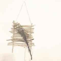 壁/インテリア/塩系インテリア/ドライフラワー/飾り/流木/... 塩系な飾り☆細い流木が沢山あったのでなん…