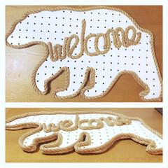 手作りwelcomeボード 秋冬バージョン(ᵔᴥᵔ)白熊さん wel…