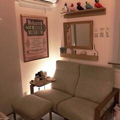 間接照明/カイボイスン/壁に付けられる家具/インテリア/無印良品 リビングの一角 私のくつろぎ空間💕