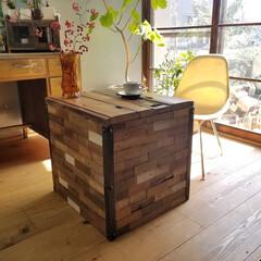 古材/テーブル/インテリア/家具/住まい/ファッション 古材でカフェテーブル作った