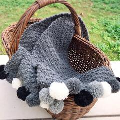 マフラー/手編み/ハンドメイド/雑貨/ファッション 鹿の子編みマフラー