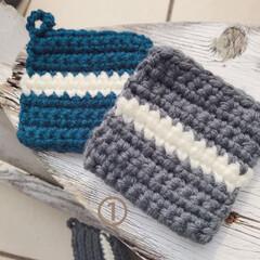アクリルたわし/手編み/ハンドメイド/掃除 アクリル毛糸でエコたわし。 こちらは2枚…