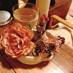 コーヒー染め/インテリア雑貨/ワークデスク/全部100均/お正月アレンジ/ピンクが好き/... ワークデスクコーナーが寂しかったので、コ…