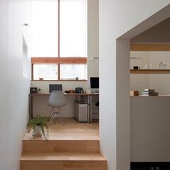 住まい/建築/インテリア/ホームオフィス/書斎/書斎コーナー/... 大開口に面したホームオフィス。 土間部分…