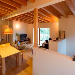 建築/住まい/インテリア/平屋/北欧家具/リビング/... 平屋片流れ天井の大空間、リビングダイニン…