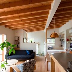 住まい/インテリア/建築/リビング/ダイニング/キッチン/... リビングスペース。程よい広さで家族との距…