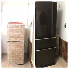 冷蔵庫買い替え/MITSUBISHI冷蔵庫/冷蔵庫/インテリア/キッチン 冷蔵庫買い替えたけど、すごい存在感💦