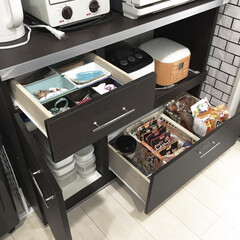 食品収納/収納見直し中/キッチン背面収納/IKEA/保存容器/100均/... キッチン収納の見直し中!  写真はキッチ…
