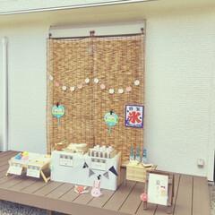 建売住宅/ウッドデッキ/すだれ/夏祭り/手作りおもちゃ/おうち時間/... 我が家のおうち夏祭り。  1番上(6歳)…