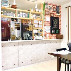 カフェ風インテリア/タッカー/壁紙リメイク/壁紙DIY/コンクリート調/レンガ壁紙/... キッチンカウンターのディアウォール棚をハ…