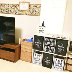 コラベル/壁紙リメイク/ハロウィンインテリア/収納棚DIY/おもちゃ収納/シンデレラフィット/... リビングにハロウィン雑貨を飾りました♪ …