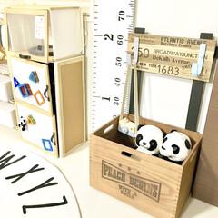 キッズスペース/おもちゃ収納/ぬいぐるみ収納/木箱リメイク/フック収納/リミアな暮らし/... おはようございます♬  最近DIYしたフ…