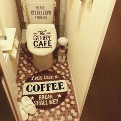タイルシール/トイレの床/トイレのインテリア/トイレリメイク/トイレ/キャンドゥ/... 少し前にトイレの床にキャンドゥのタイルシ…
