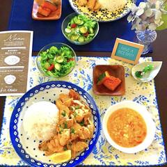簡単料理/oisix/彩りのある暮し/ランチョンマット/紫陽花/季節感/... 梅雨時期の写真になりますが…  チキンの…