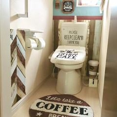 板壁風/KABEDECO/壁紙DIY/カフェ風インテリア/カフェ風/リメイクシート/... カフェ風にDIYしたトイレです。 壁紙は…