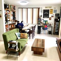 ブラインドカーテン/縦型ブラインド/ディアウォール棚/カフェ風インテリア/こどものいる暮らし/家族団欒/... 建売住宅を購入して約2年半が経ちました。…