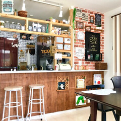 カフェ風インテリア/リビング/建売住宅/タッカー/壁紙DIY/赤ちゃんのいる生活/... 2年前にカフェ風DIYしたキッチンカウン…