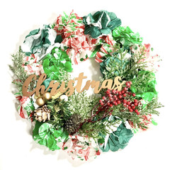 グリーンのある暮らし/カラフル/ポップ/クリスマスカラー/インテリア雑貨/ハンドメイド雑貨/... 普通の柳リースではなく 少し変わった材料…