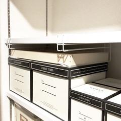 廃材リメイク/素麺箱/レジ袋収納/引き出しDIY/隙間収納/モノトーンインテリア/... 収納棚を見直した際に 数センチの隙間が出…